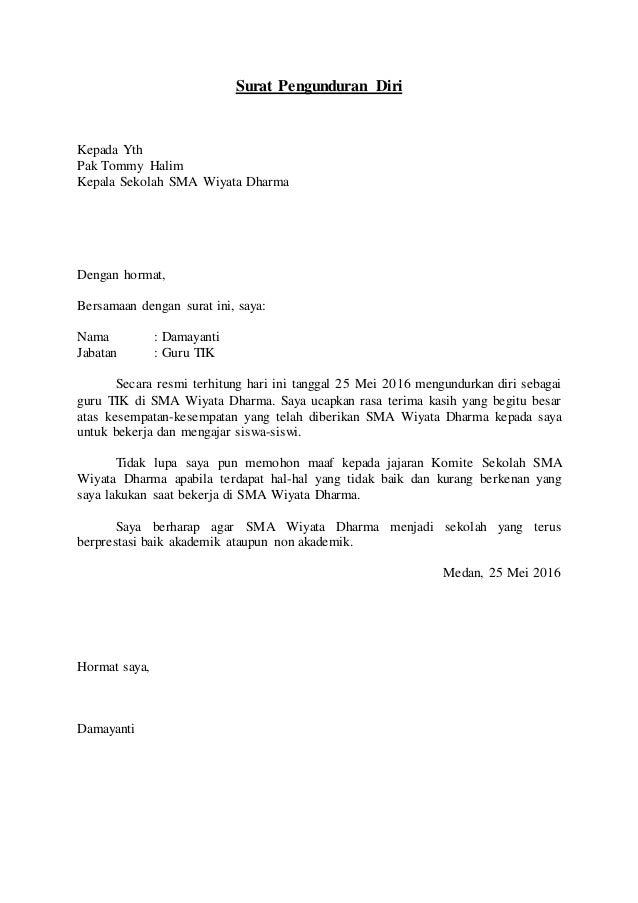 Contoh Surat Pengunduran Diri Wakil Kepala Sekolah Detil