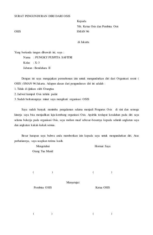 surat pengunduran diri osis