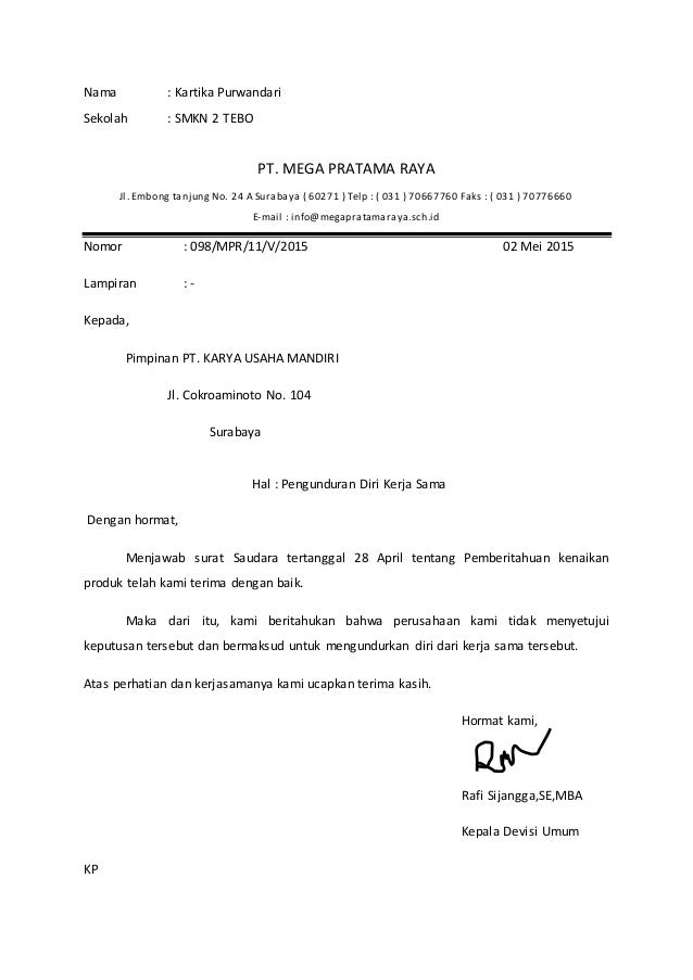 Surat pengunduran diri kerja sama