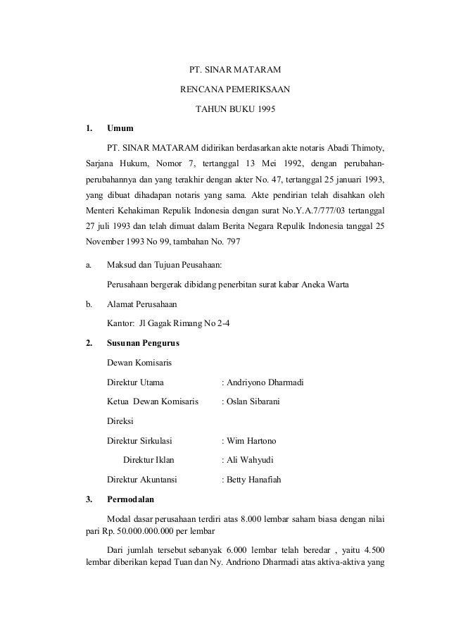 Contoh Surat Rekomendasi Hasil Audit
