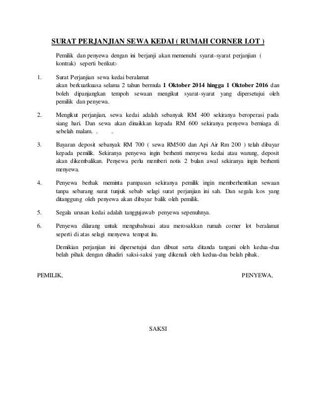 Contoh Surat Perjanjian Sewa Kedai Simple