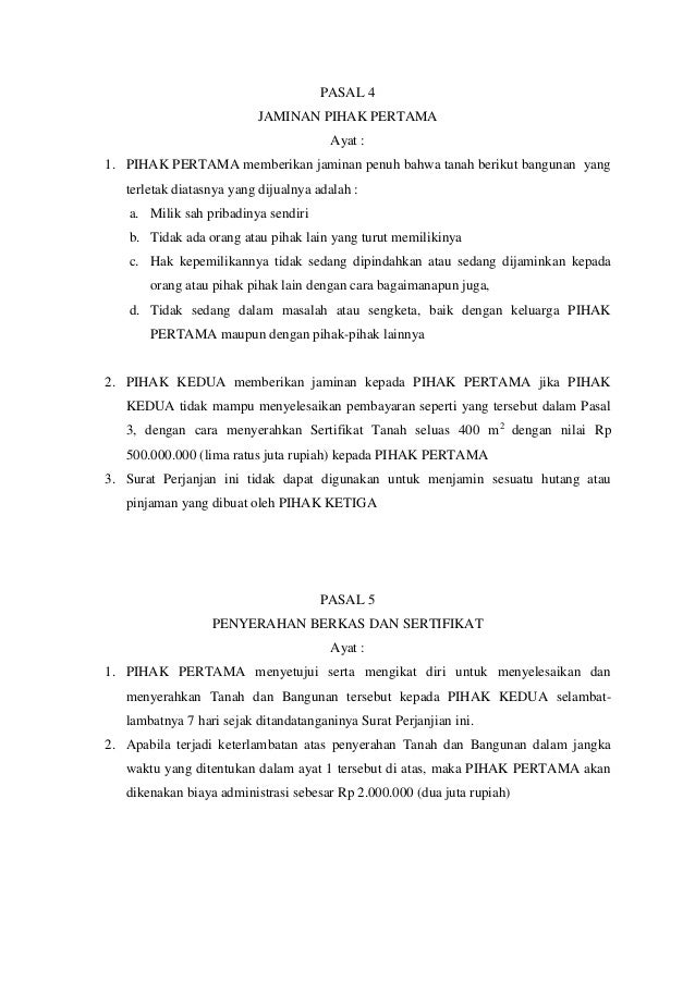 contoh surat perjanjian jual beli