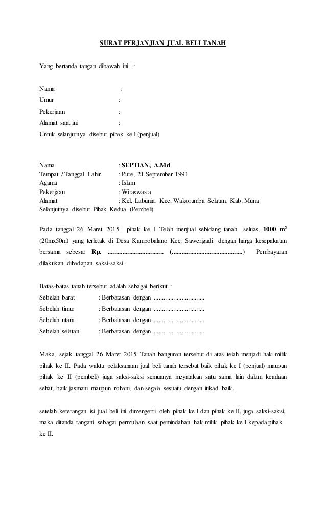 Surat Perjanjian Jual Beli Tanah 23