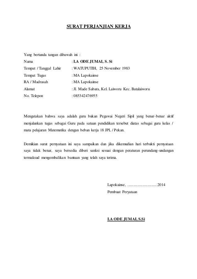 Surat Perjanjian Kerja Lapokainse