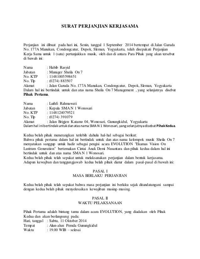 Contoh Surat Perjanjian Kerjasama Sewa Menyewa - Surat 0