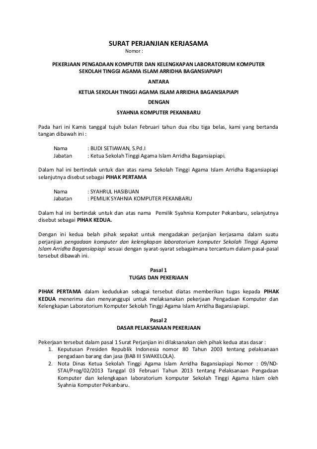 Surat Perjanjian Kerjasama Hibah Resmi