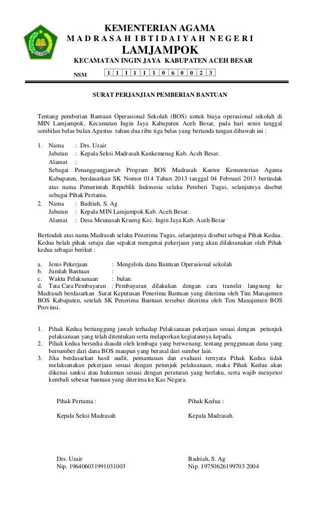 Surat perjanjian pemberian bantuan bos