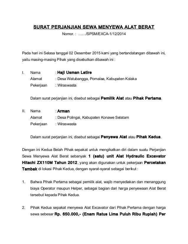 Contoh Surat Perjanjian Jual Beli Alat Berat