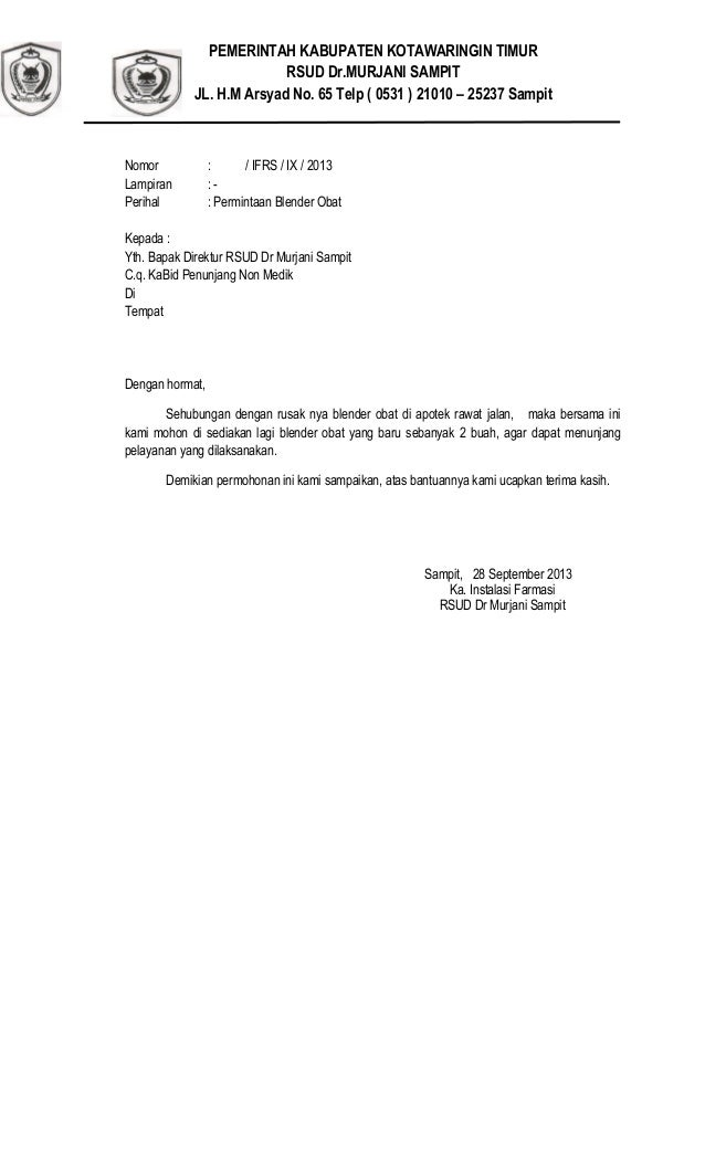 Surat permintaan blender obat ke pa riwis