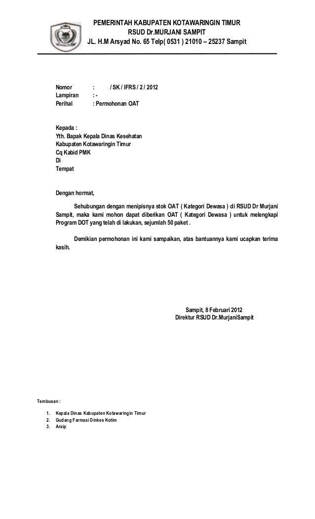 Surat Permintaan Oat Ke Kabid Pmk Februari