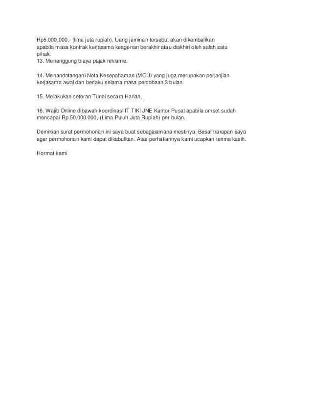 Surat Permohonan Agen Tiki