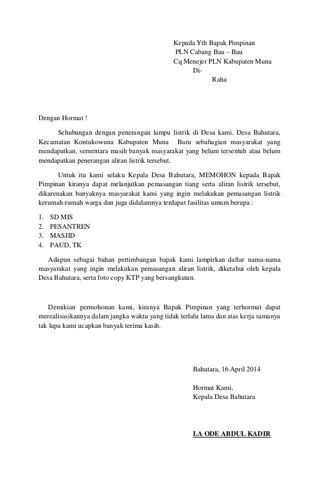 surat permohonan aliran listrik desa bahutara kab muna