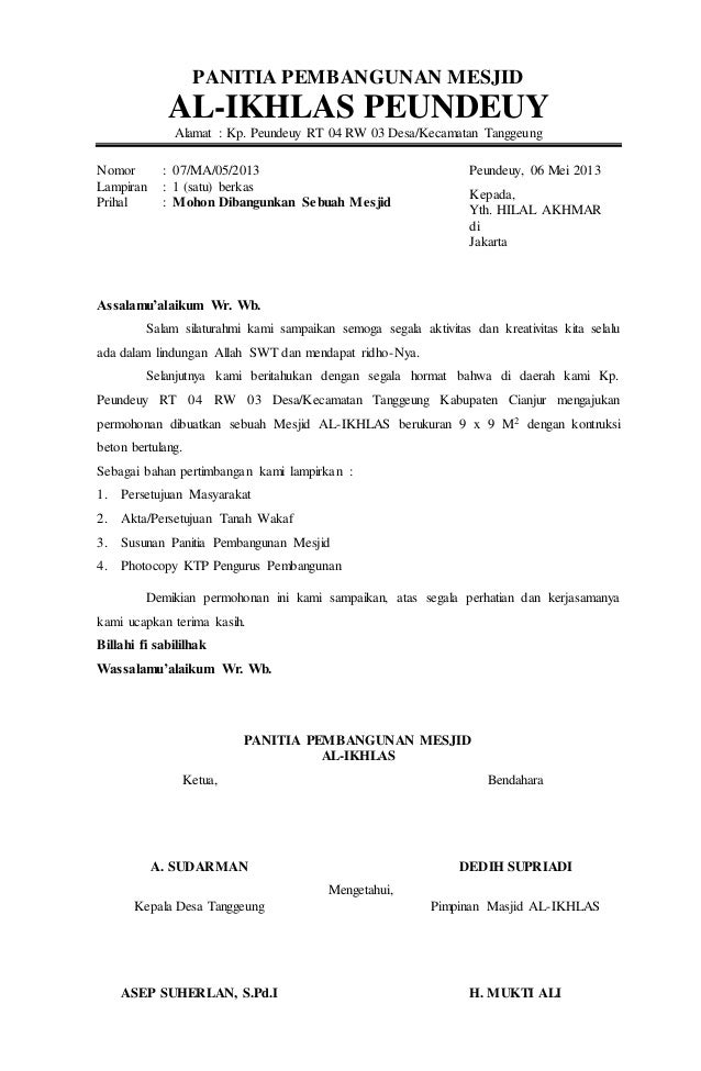 Surat Permohonan Dibangunkan Sebuah Mesjid Al Ikhlas