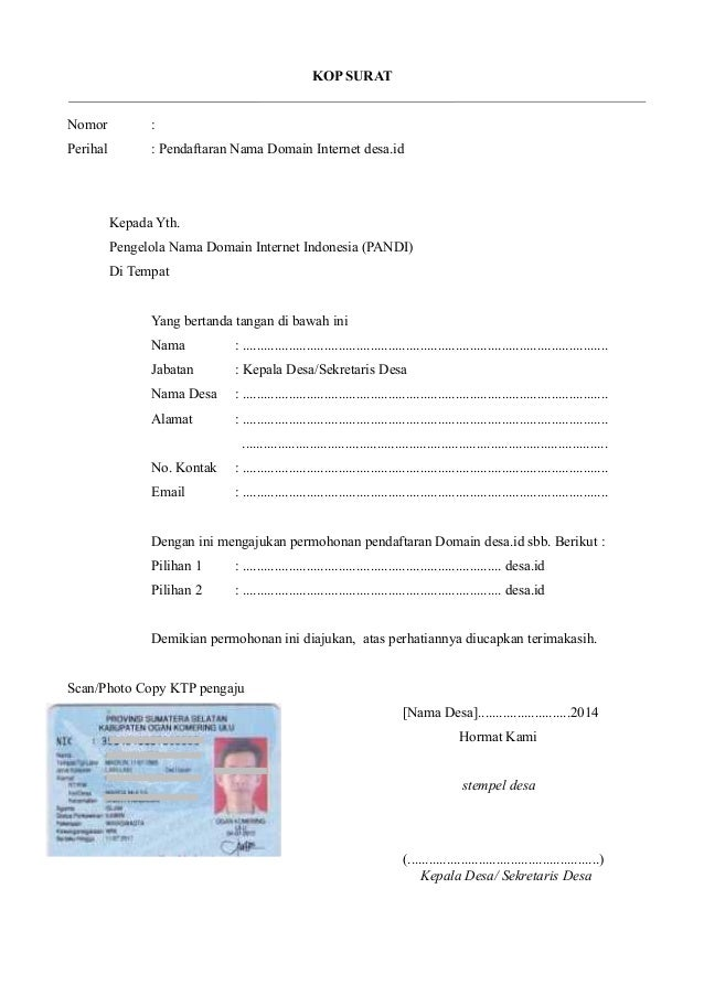 Kop Surat Nomor Perihal Pendaftaran Nama Domain Internet Desa Id Kepada Yth