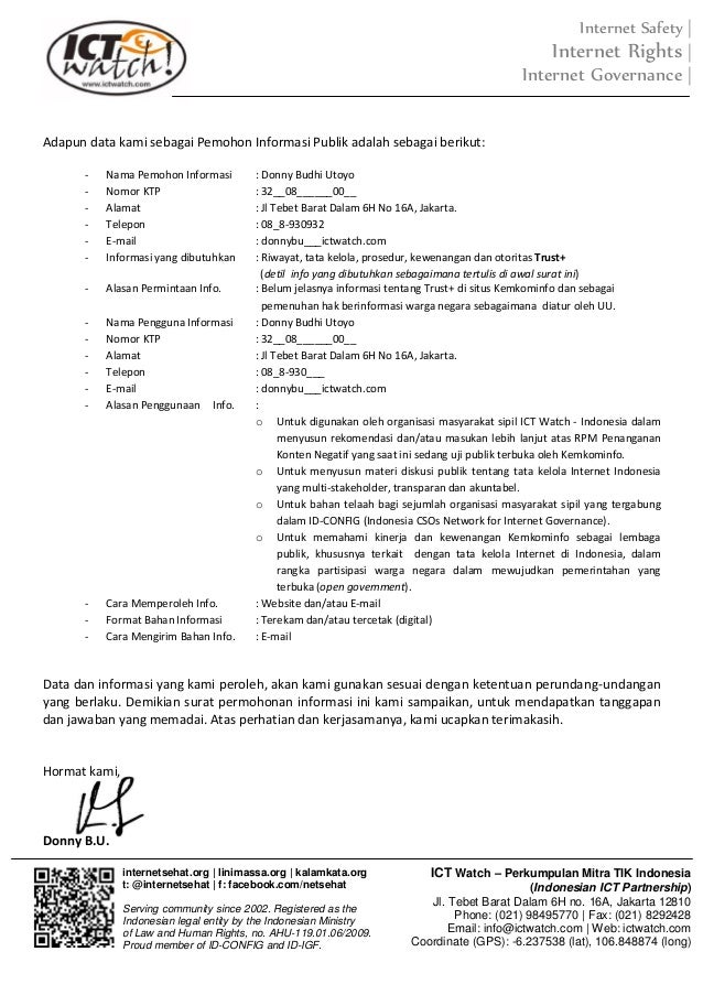surat permohonan informasi trust positif
