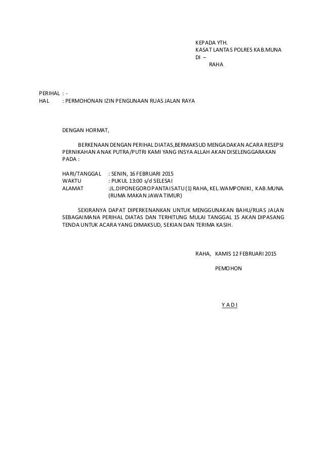 Surat permohonan izin penggunaan ruas jalan raya