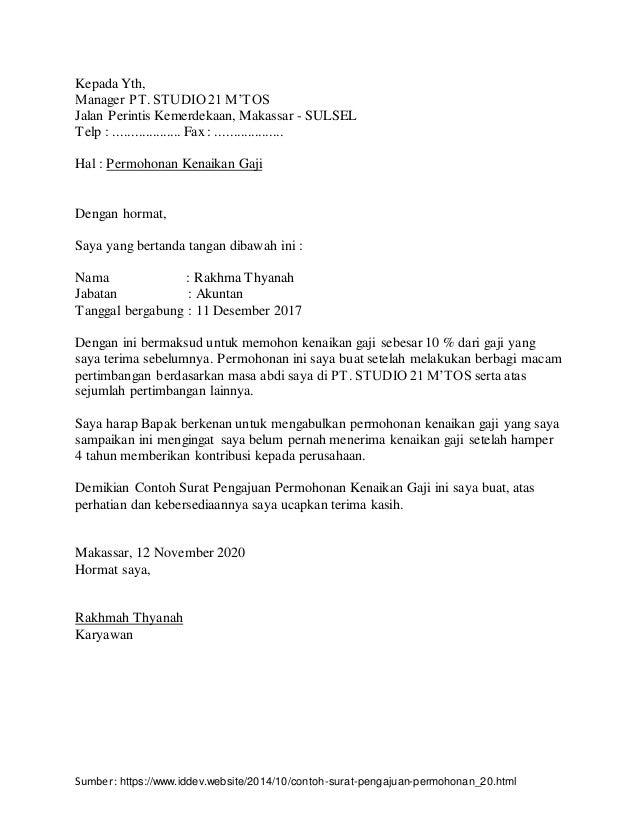 Sumber: https://www.iddev.website/2014/10/contoh-surat-pengajuan-permohonan_20.html Kepada Yth, Manager PT. STUDIO 21 M'TO...