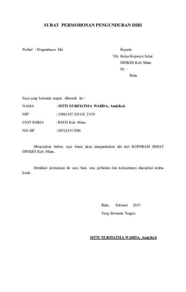 Contoh Surat Pengunduran Diri Anggota Koperasi Kami