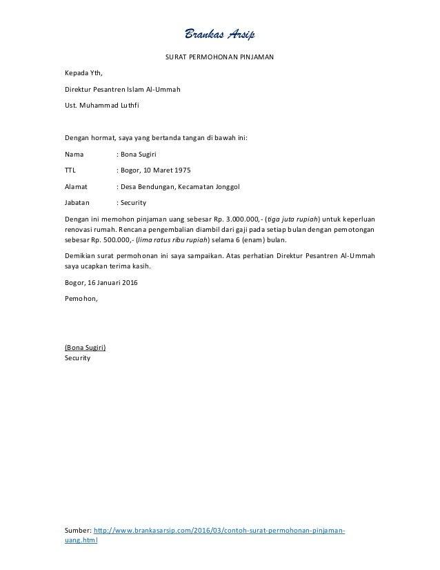 Contoh Surat Sokongan Permohonan Pinjaman Mara