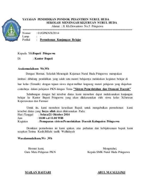 Surat Permohonan Smk Nurul Huda