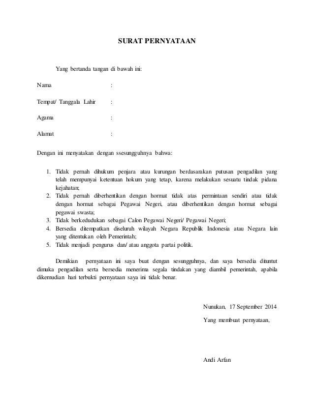 Contoh Surat Pernyataan Tidak Pernah Diberhentikan Dengan Tidak Hormat Contoh Seputar Surat