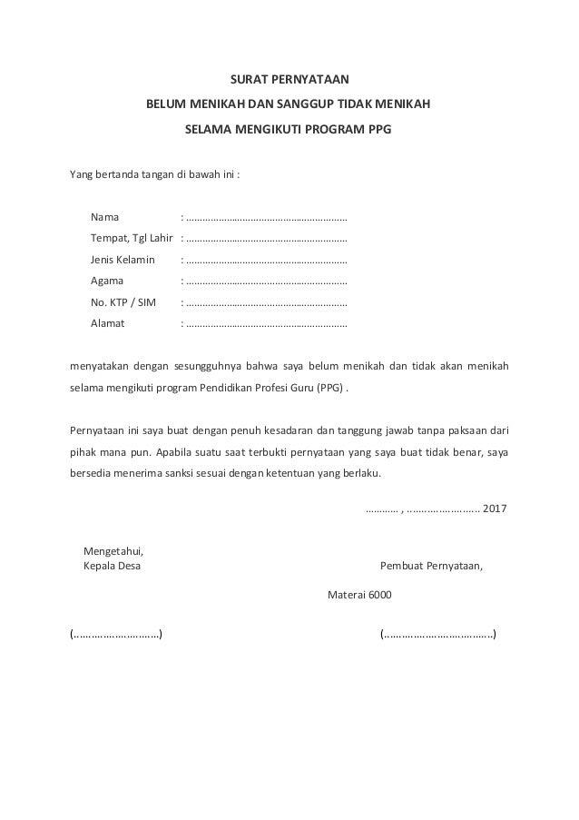 Contoh Surat Pernyataan Belum Menikah Untuk Kua - Kumpulan ...