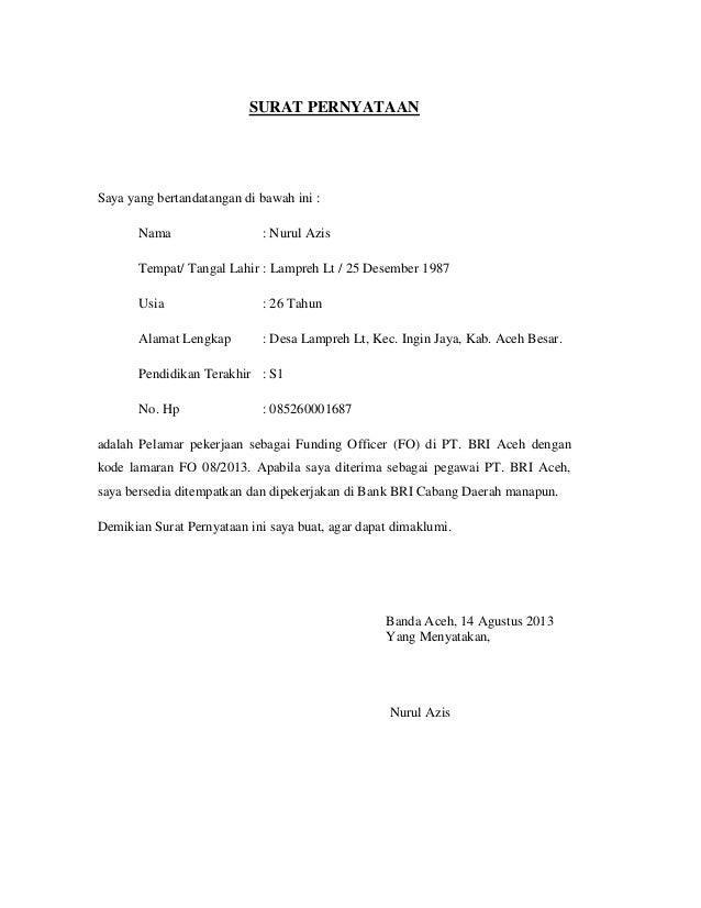 Surat Pernyataan Azis