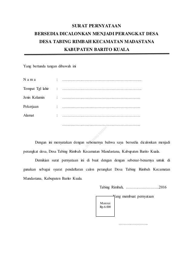 surat pernyataan bersedia dicalonkan menjadi perangkat desa