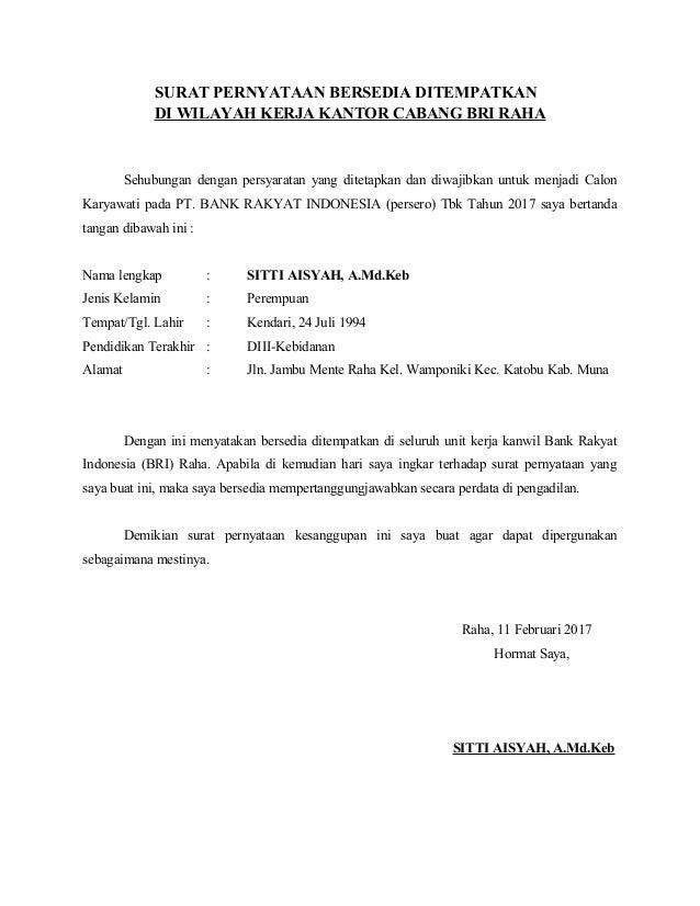 Surat Pernyataan Bersedia Ditempatkan Di Seluruh Unit Kerja
