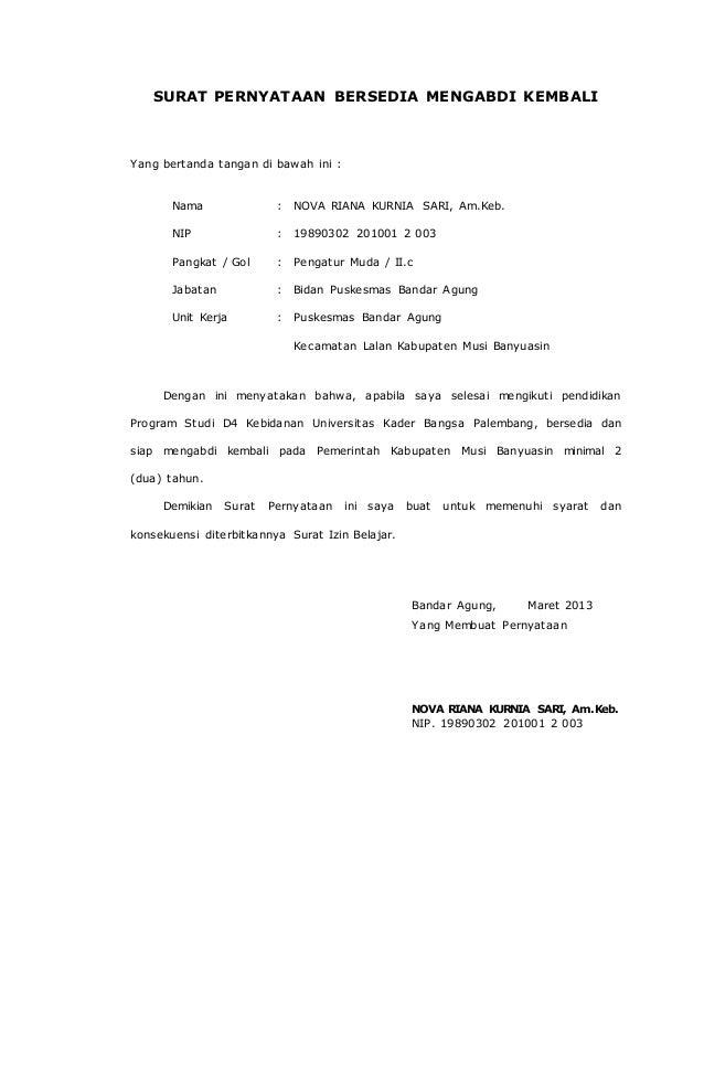 Surat Pernyataan Bersedia Mengabdi Kembali