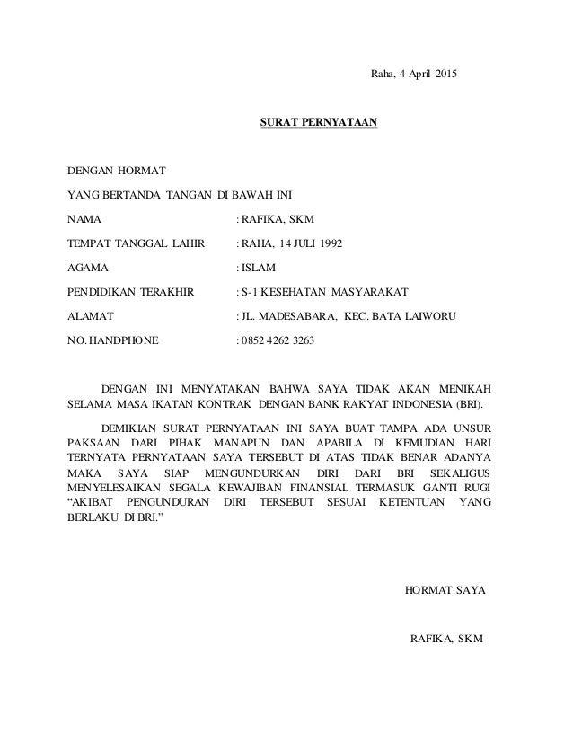 Contoh Surat Pernyataan Di Bank Bri - Contoh Surat