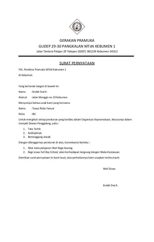 Contoh Surat Pernyataan Kesanggupan Mengikuti Organisasi