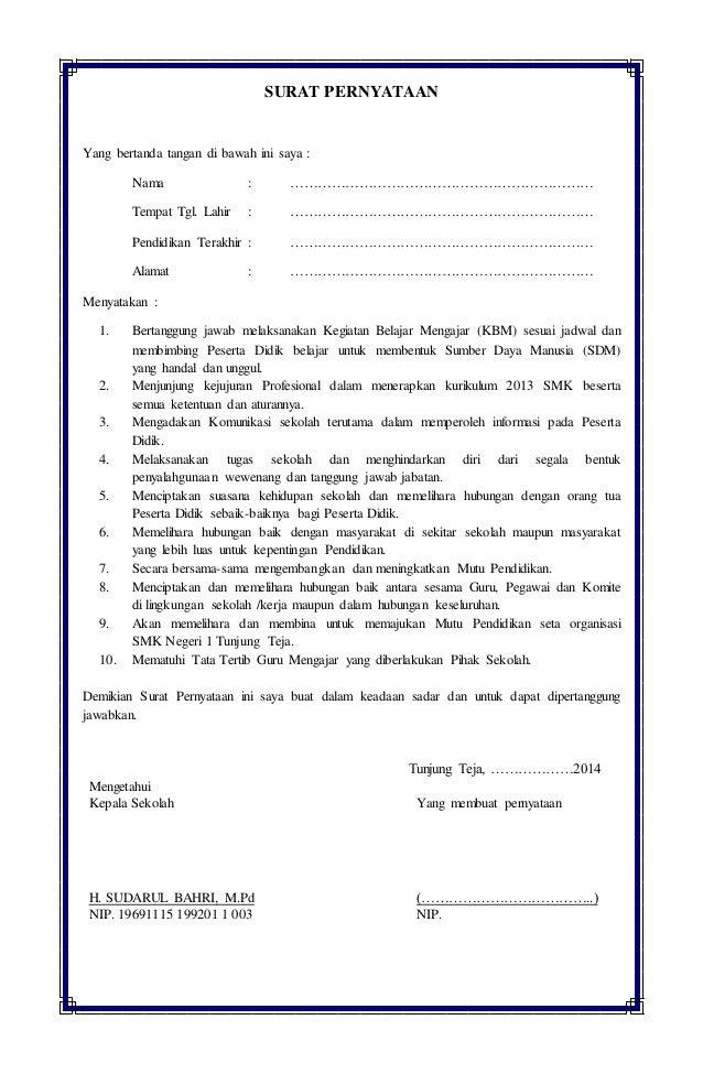 Contoh Surat Pernyataan Tata Tertib Sekolah - Kumpulan ...