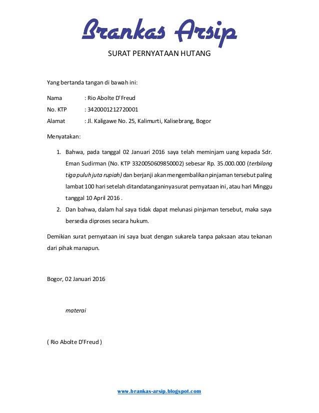 Surat Pernyataan Hutang Brankas Arsip