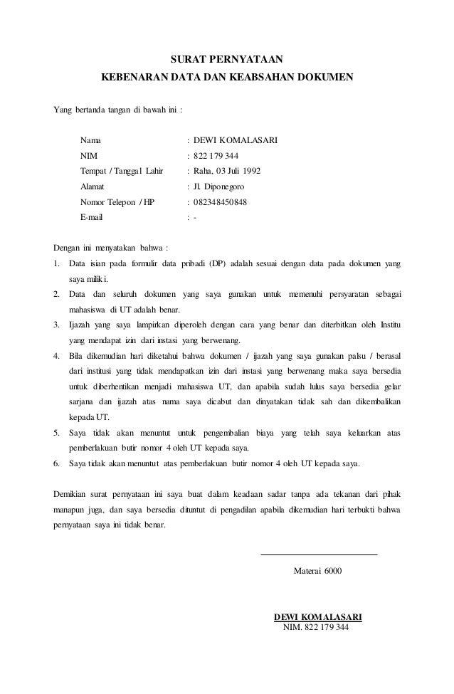 34+ Contoh surat pernyataan kebenaran berkas bermaterai terbaru yang baik dan benar
