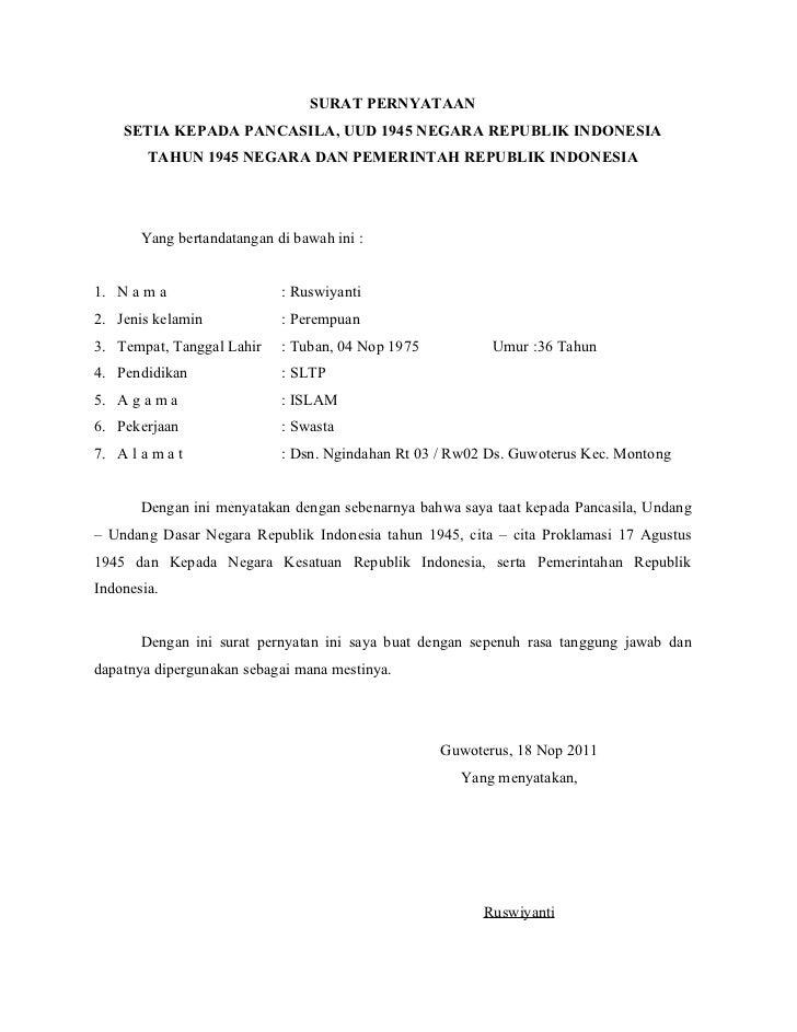 surat pernyataan kepala desa