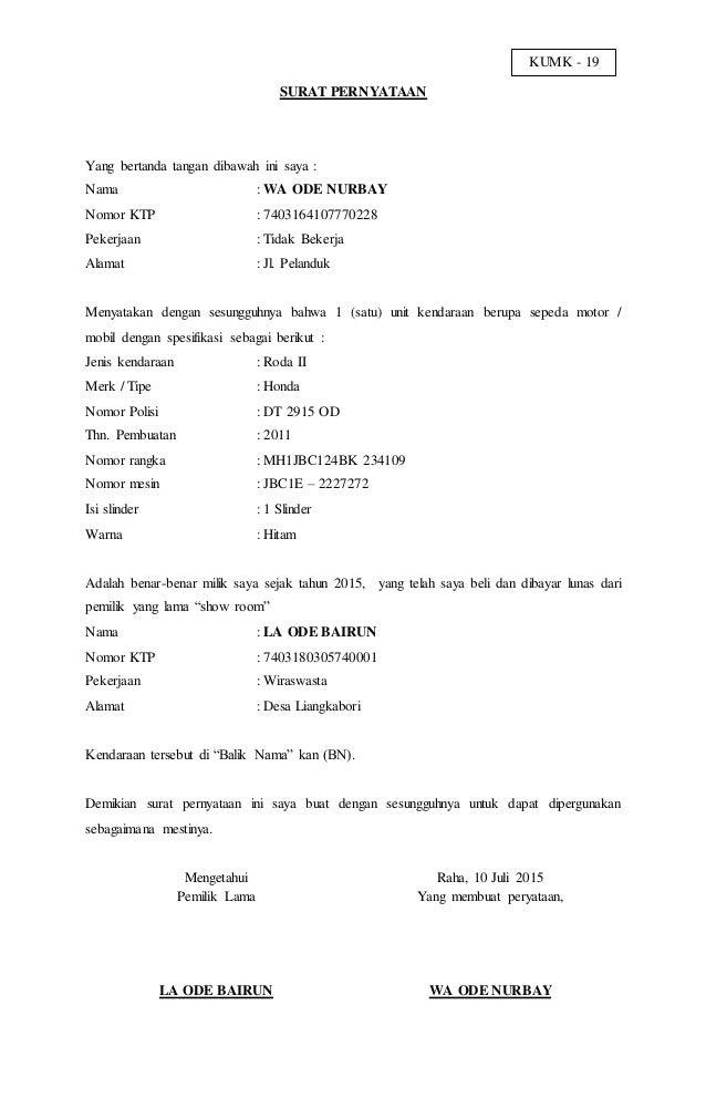 Surat Pernyataan Kepemilikan Kendaraan Untuk Balik Nama