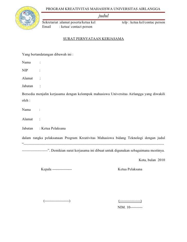 Contoh Surat Pernyataan Kerjasama - Aneka Macam Contoh