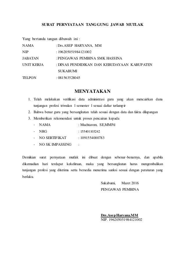 Surat Pernyataan Pa Muchtarom