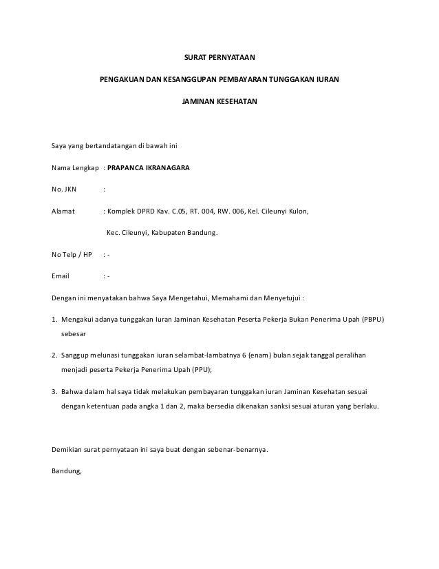 Surat pernyataan pengakuan kesanggupan tunggakan pt.jnc