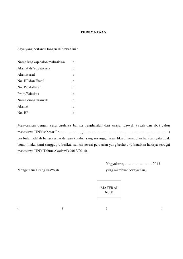 Surat Pernyataan Penghasilan Orangtua Verifikasi Mahasiswa Uny 2013