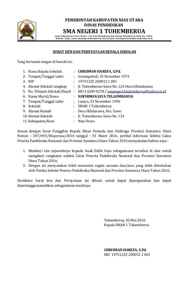 Surat Pernyataan Peserta Seleksi Paskibraka Mei 2016