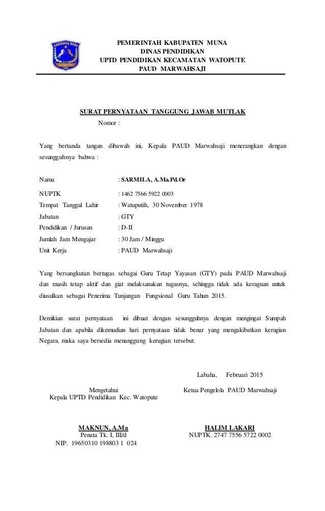 Surat Pernyataan Tanggung Jawab Mutlak Paud Marwahsaji