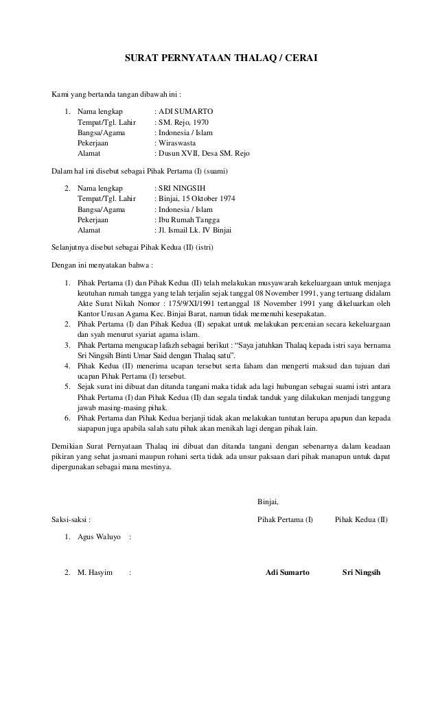 Contoh Surat Pernyataan Ikrar Talak - Contoh M