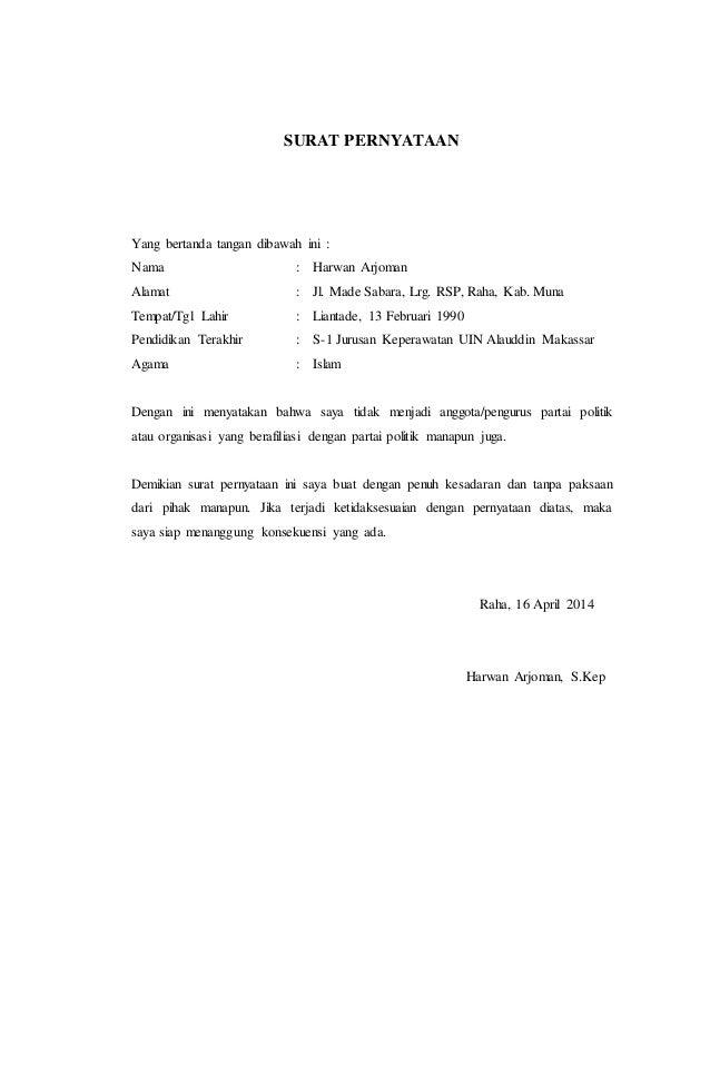 Surat Pernyataan Tidak Berafiliasi Dengan Partai Politik Septian