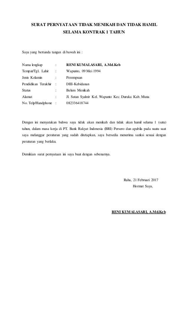 surat pernyataan tidak menikah