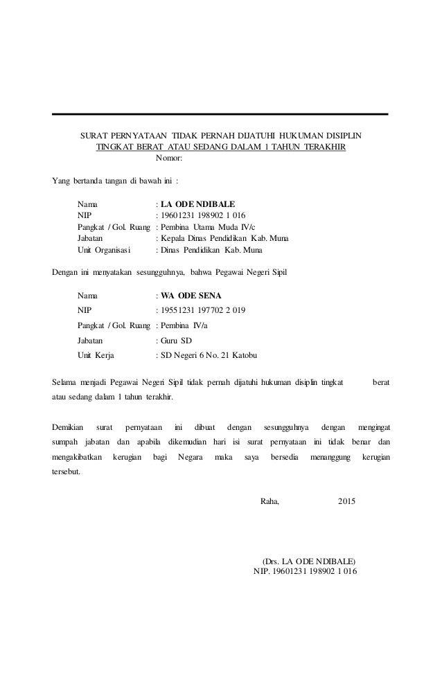 Contoh Surat Pernyataan Tidak Sedang Menjalani Hukuman ...