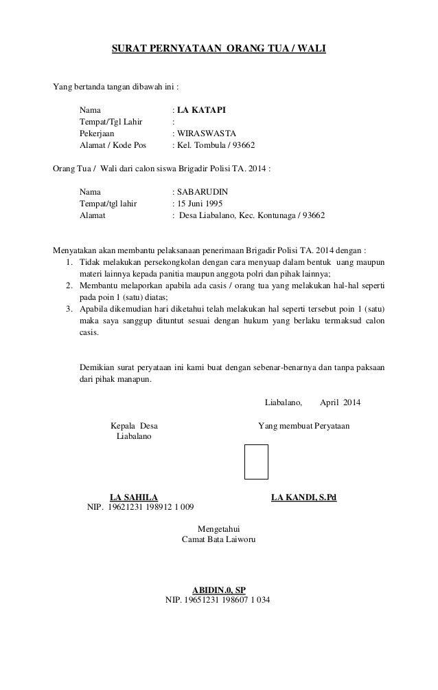 Surat Persetujuan Orang Tua Untuk Menjadi Polisi