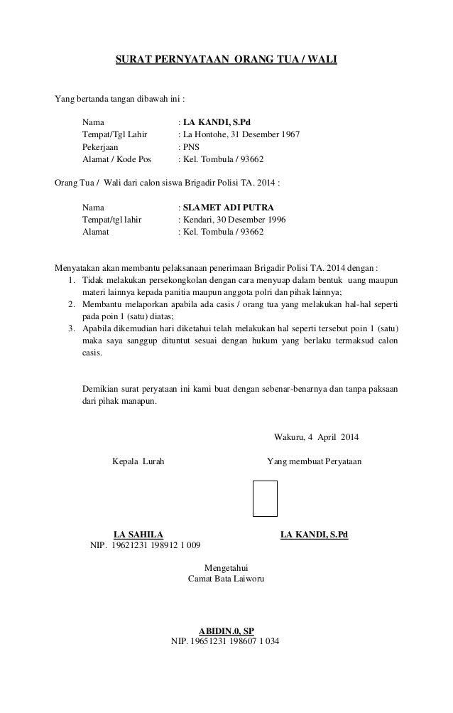 Contoh Surat Pernyataan Orang Tua Untuk Bekerja Di Alfamart