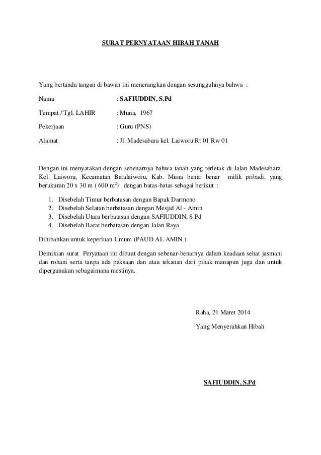 Contoh Surat Pernyataan Hibah Tanah Warisan Detil Gambar